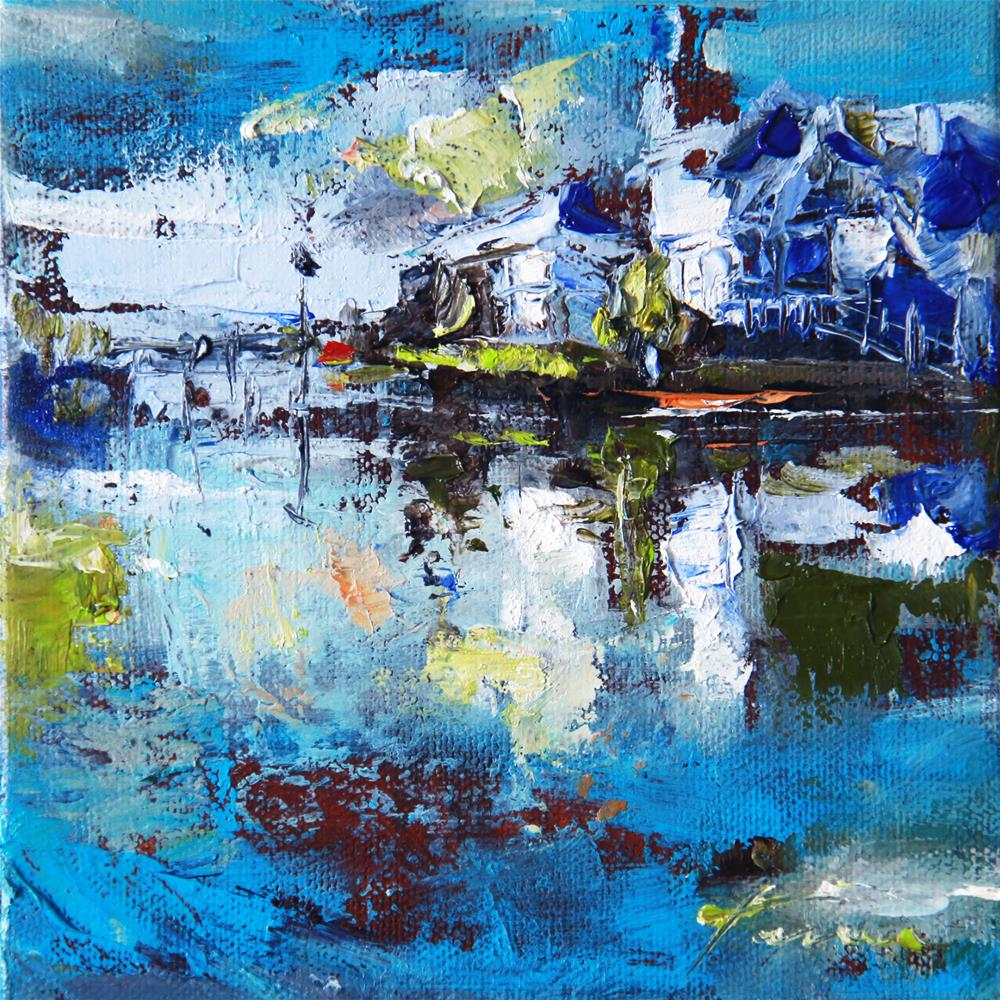 """Ocean and the blue roof house"" original fine art by Teresa Yoo"