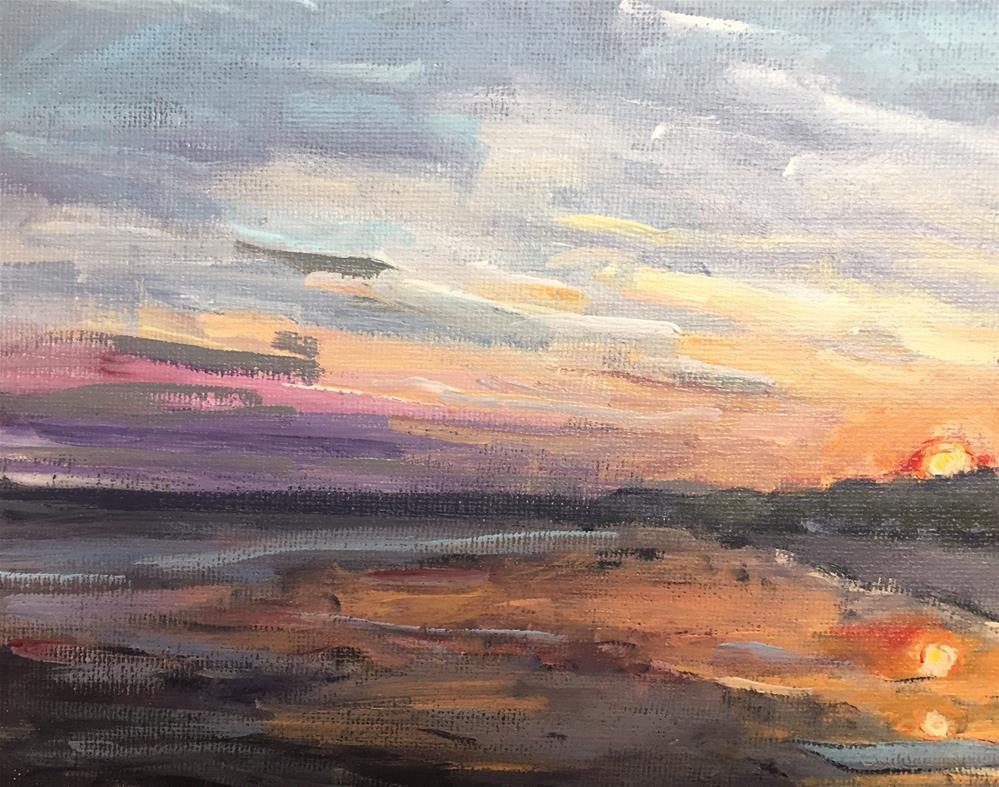 """""""Sunset at the Beach"""" original fine art by Alina Vidulescu"""