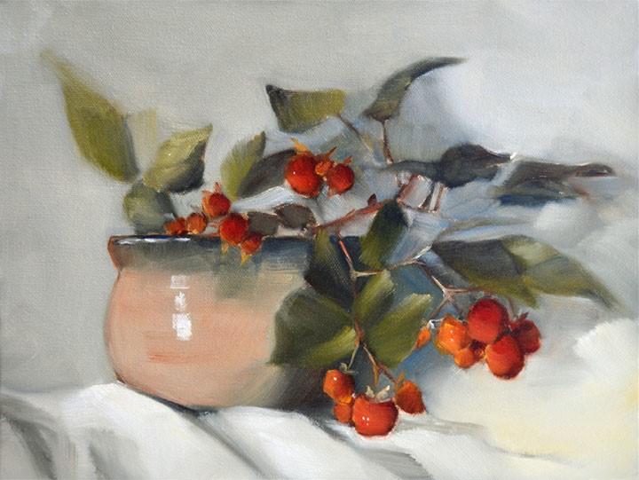 """Traveling Raspberries"" original fine art by Cheryl Wilson"