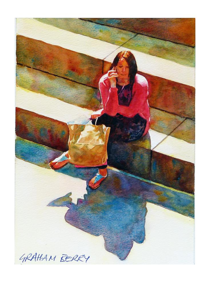 """On the steps."" original fine art by Graham Berry"