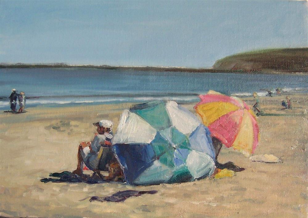 """Dog Day Afternoon,seascape,oil on canvas9x12,price$600"" original fine art by Joy Olney"