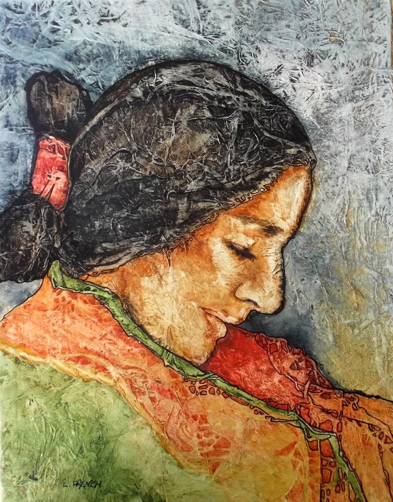 """Zen Inspired Navajo Maiden Watercolor on Tissue"" original fine art by lynne french"