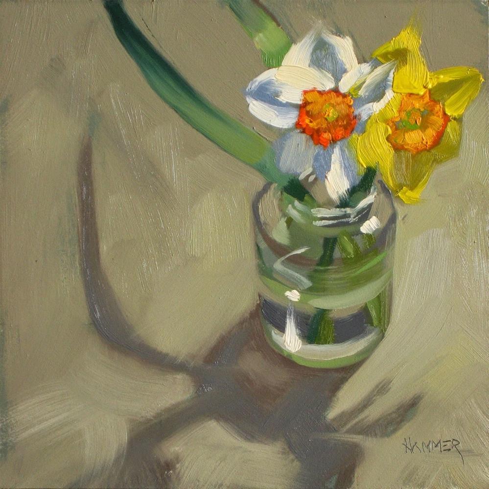 """""""Spring in a jar 6x6 oil"""" original fine art by Claudia Hammer"""
