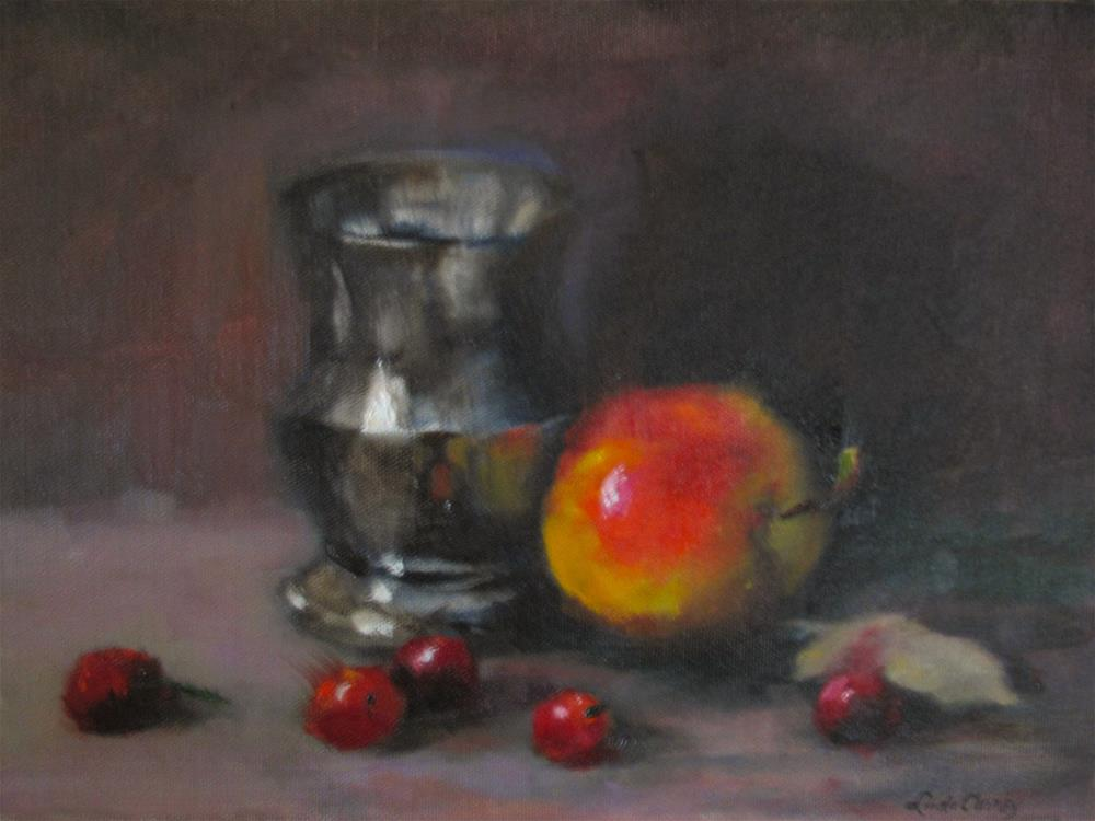 """Pewter cup with Apple"" original fine art by Linda Carney"