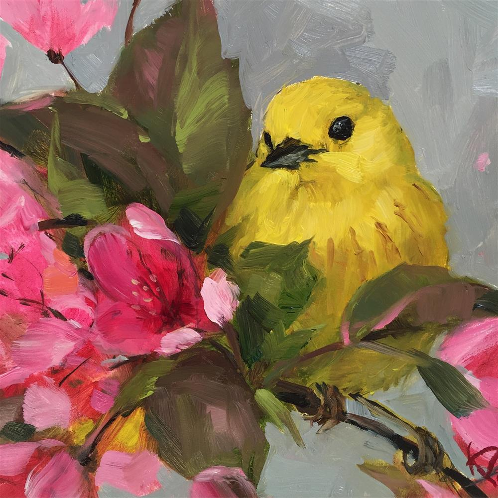 """Yellow Warbler & Blossoms II"" original fine art by Krista Eaton"