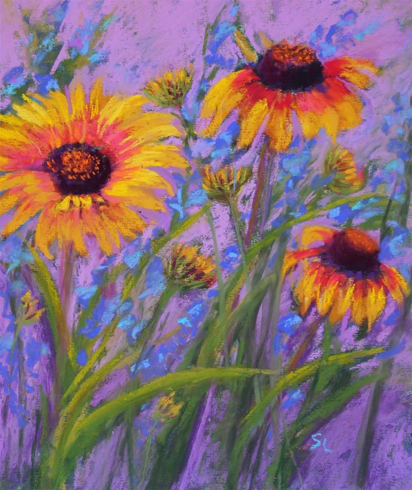 """Blanket Flowers"" original fine art by Sharon Lewis"