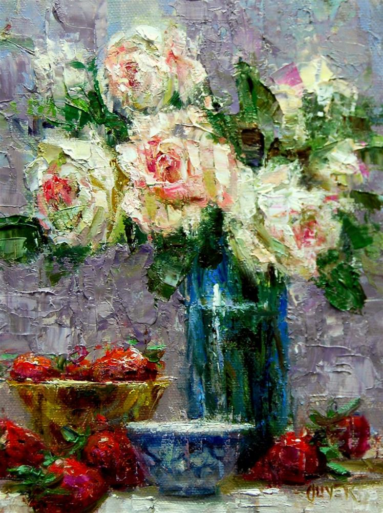 """""""Strawberries and Roses"""" original fine art by Julie Ford Oliver"""