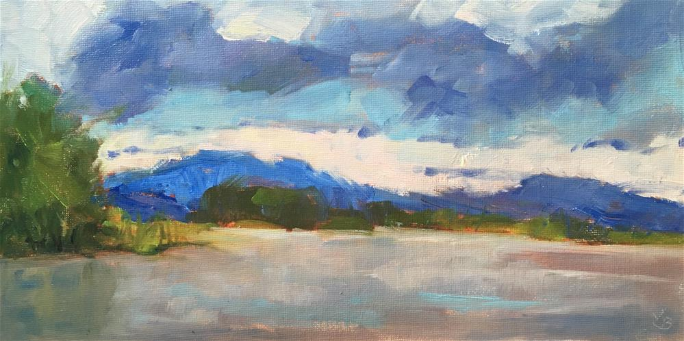 """Rain Clouds over the Reservoir"" original fine art by Victoria  Biedron"