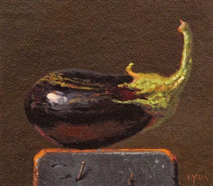 """Heirloom Eggplant on a Wood Block  (+ Juror in RayMar's Fine Art Competition)"" original fine art by Abbey Ryan"