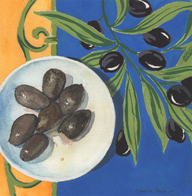"""""""Black Olives"""" original fine art by Carole Baker"""