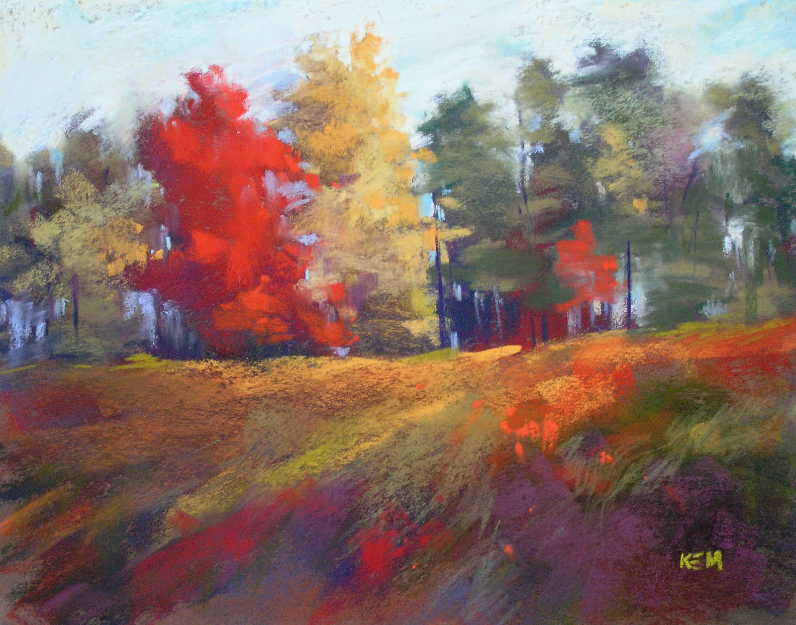 """""""More Autumn Color   11x14  pastel"""" original fine art by Karen Margulis"""