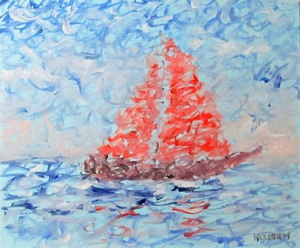"""""""Mark Adam Webster - Impressionist Sailboat Oil Painting"""" original fine art by Mark Webster"""