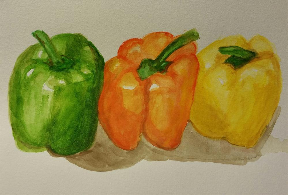 """""""3 Peppers Watercolor"""" original fine art by Jo Allebach"""