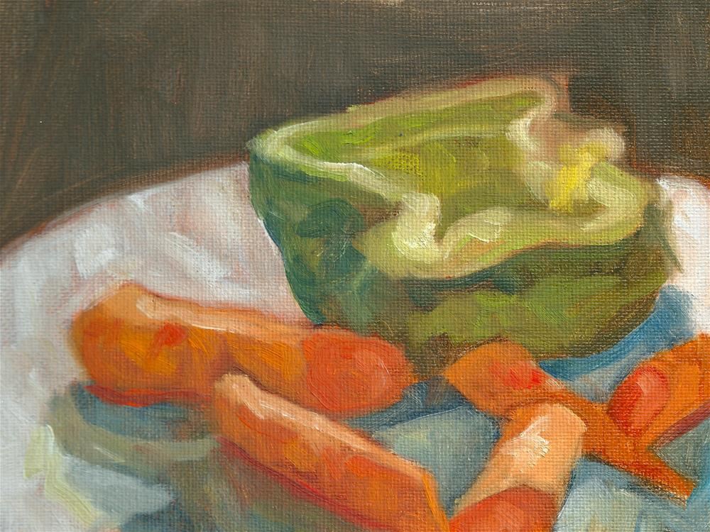 """Green Pepper & Carrots for Stew"" original fine art by Marlene Lee"