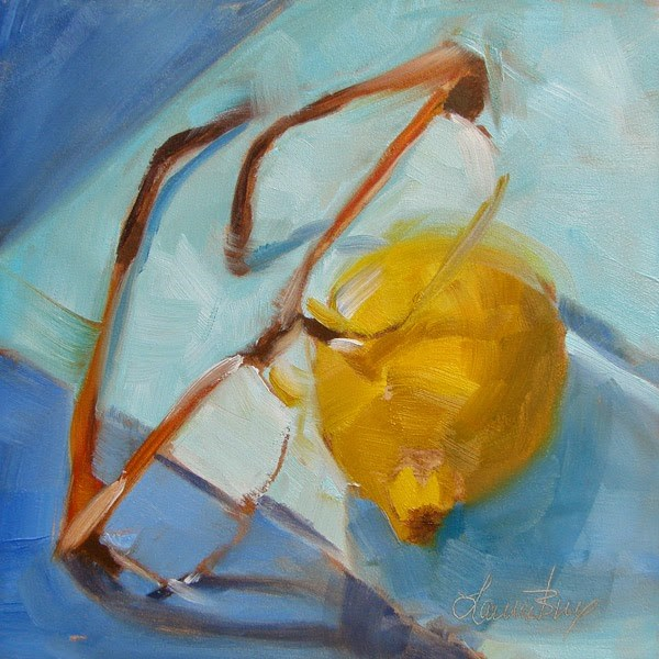 """""""Yellow and Blue 317"""" original fine art by Laura  Buxo"""