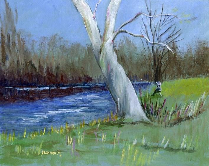 """""""Fishing Break"""" original fine art by Sue Furrow"""
