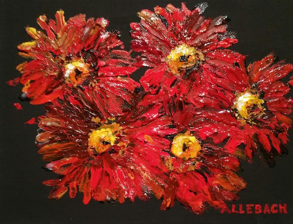 """Red daisies"" original fine art by Jo Allebach"