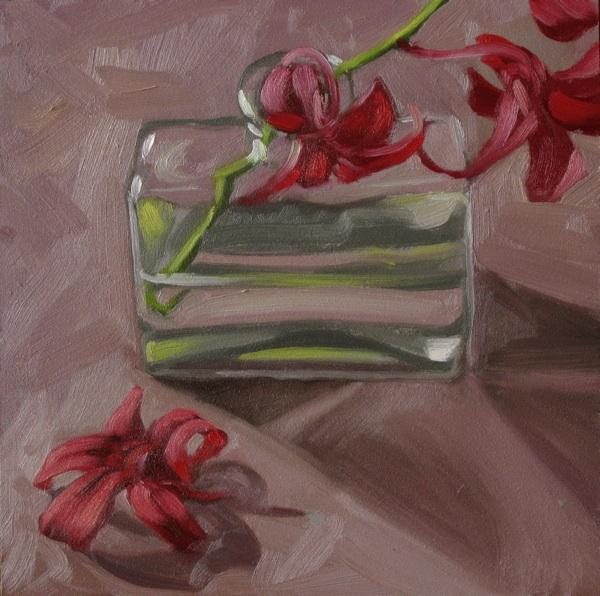 """""""Red orchids 6x6 oil on gessobord"""" original fine art by Claudia Hammer"""