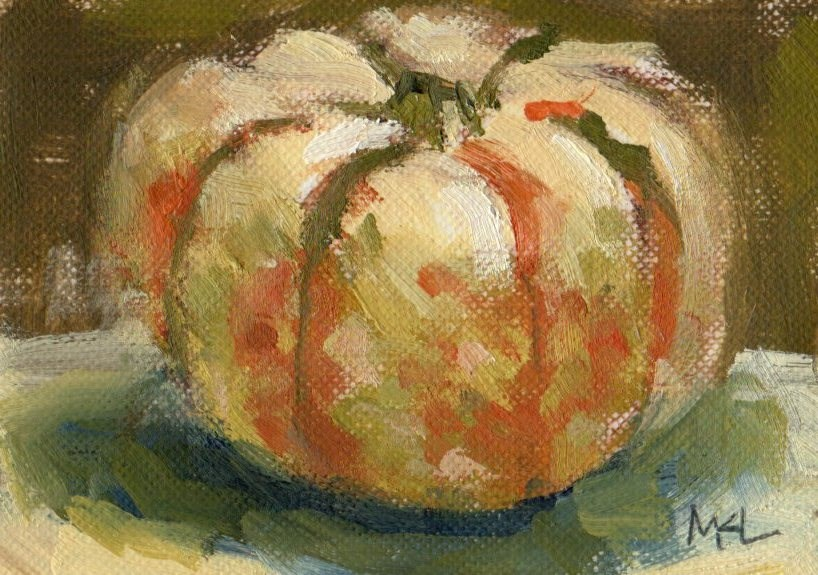 """A White and Orange Pumpkin"" original fine art by Marlene Lee"
