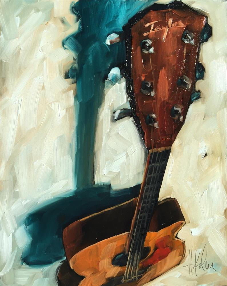 """Acoustic Guitar"" original fine art by Hallie Kohn"