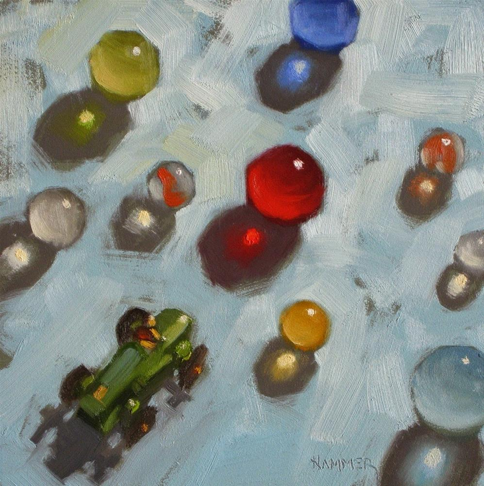 """Leader of the Pack... Vroom Vroom! 6 x 6 oil"" original fine art by Claudia Hammer"