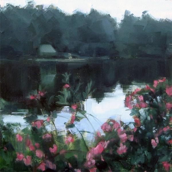 """Overcast Morning, Lake Monomanoc, New Hampshire (no.80)"" original fine art by Michael William"