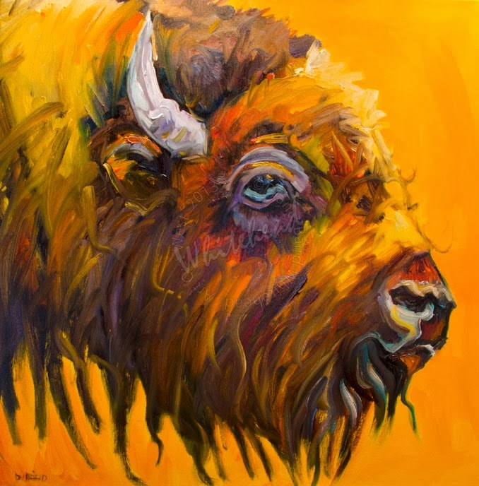 """ARTOUTWEST BISON Wildlife Animal art oil painting by Diane Whitehead"" original fine art by Diane Whitehead"