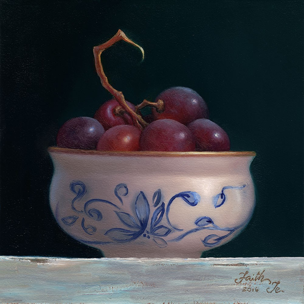 """Red Grapes in Bowl"" original fine art by Faith Te"