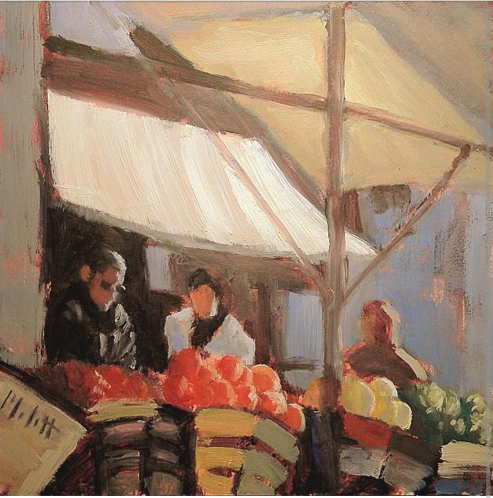 """Farmers Market Fruit Vegetable Stand Figures Original Oil Painting"" original fine art by Heidi Malott"