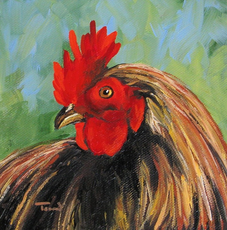 """The Rooster V"" original fine art by Torrie Smiley"