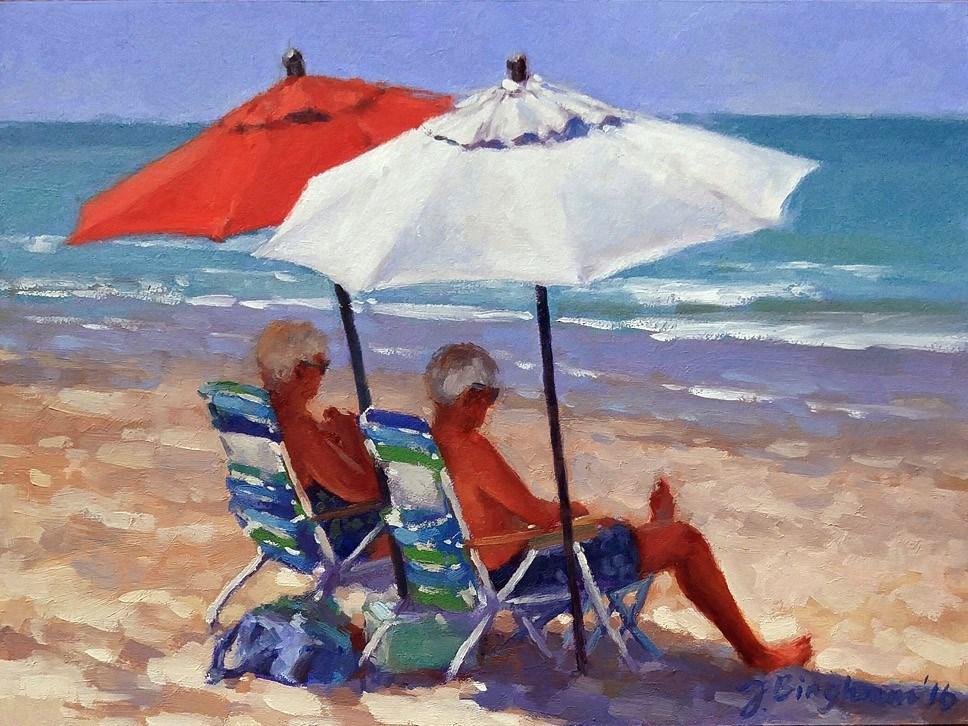 """Beach Couple Series-2"" original fine art by Joanna Bingham"