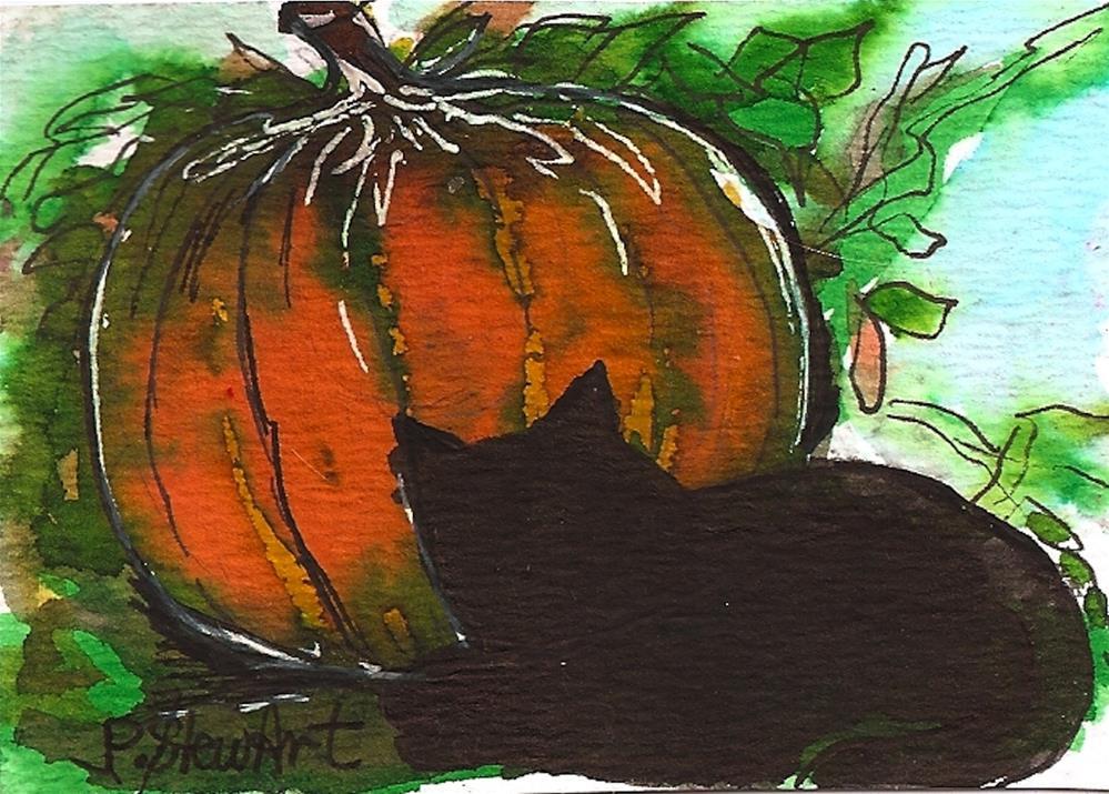 """ACEO: Halloween Pumpkin and Black Cat, Watercolor and Pen, Original Art"" original fine art by Penny Lee StewArt"