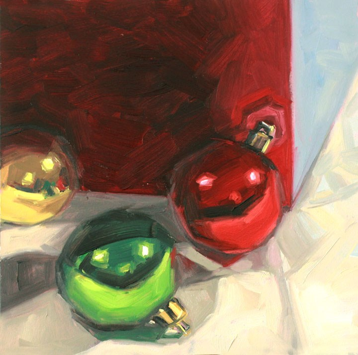 """""""Holiday Cheer: Christmas 'Round the Corner"""" original fine art by Nealy May Riley"""