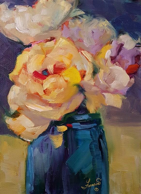 """""""Buttery Flowers"""" original fine art by Francine Dufour~Jones"""