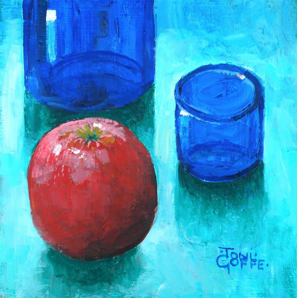"""""""Blue and Red"""" original fine art by Toni Goffe"""