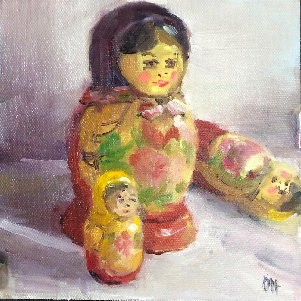 """Russian Matryoshka Is Having A Tantrum"" original fine art by Olga Hegner"
