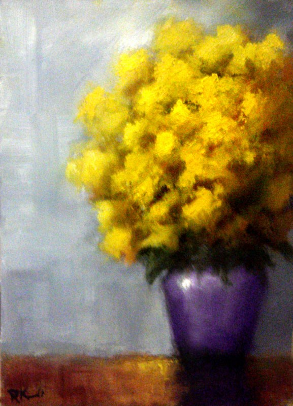"""""""Yellow Flowers in a Purple Vase"""" original fine art by Bob Kimball"""
