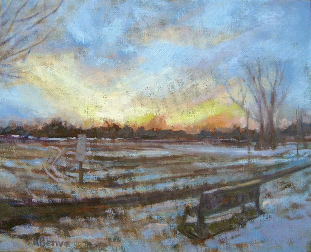 """Evening Snow at Thompson Park"" original fine art by Robie Benve"