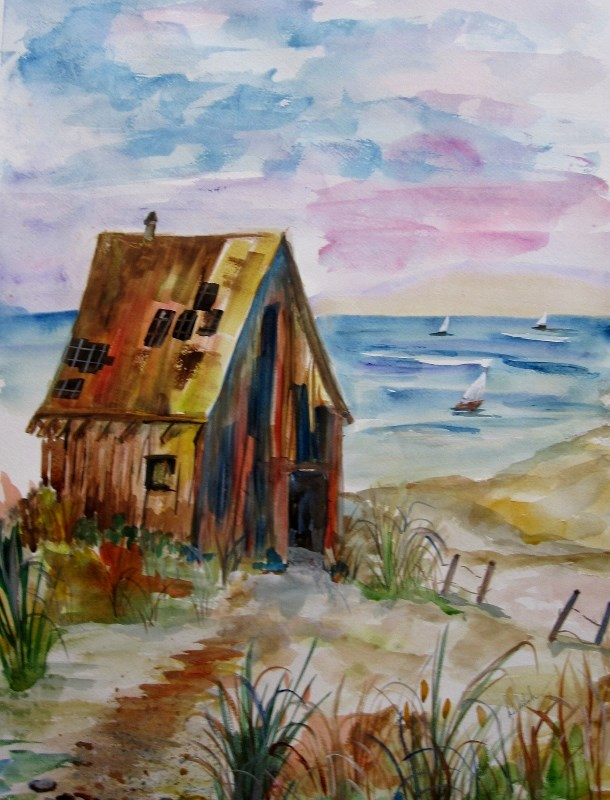 """Beach Shack"" original fine art by Delilah Smith"