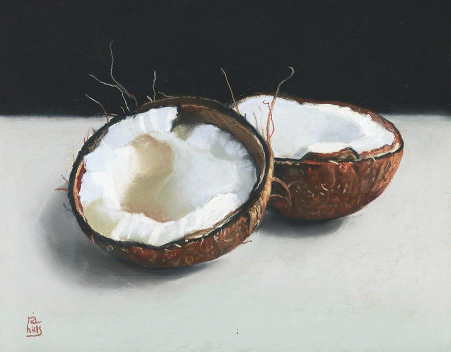 """Coconut still life painting"" original fine art by Ria Hills"