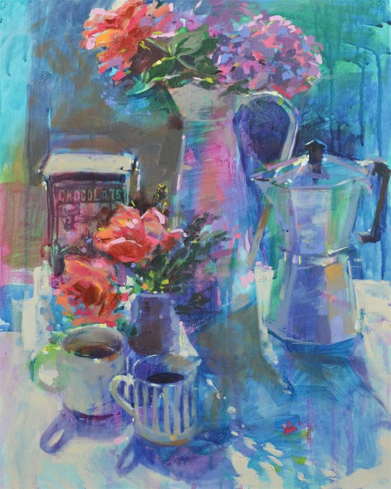 """""""French coffee and roses"""" original fine art by Haidee-Jo Summers ROI"""