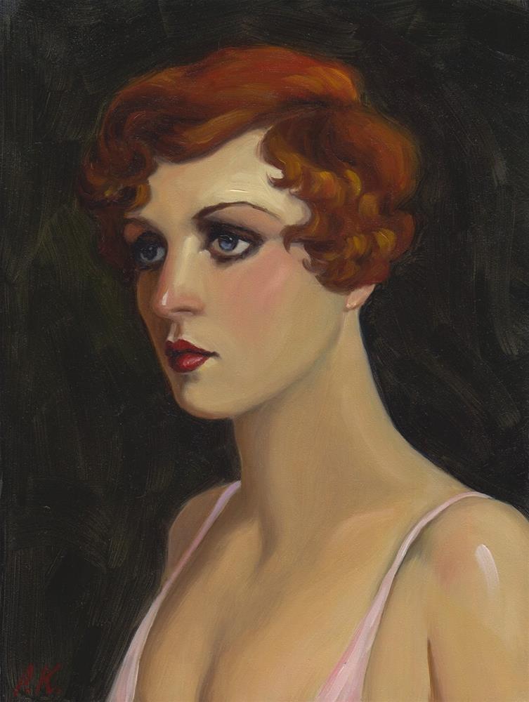 """Portrait of a Dance Hall Girl"" original fine art by Pat Kelley"