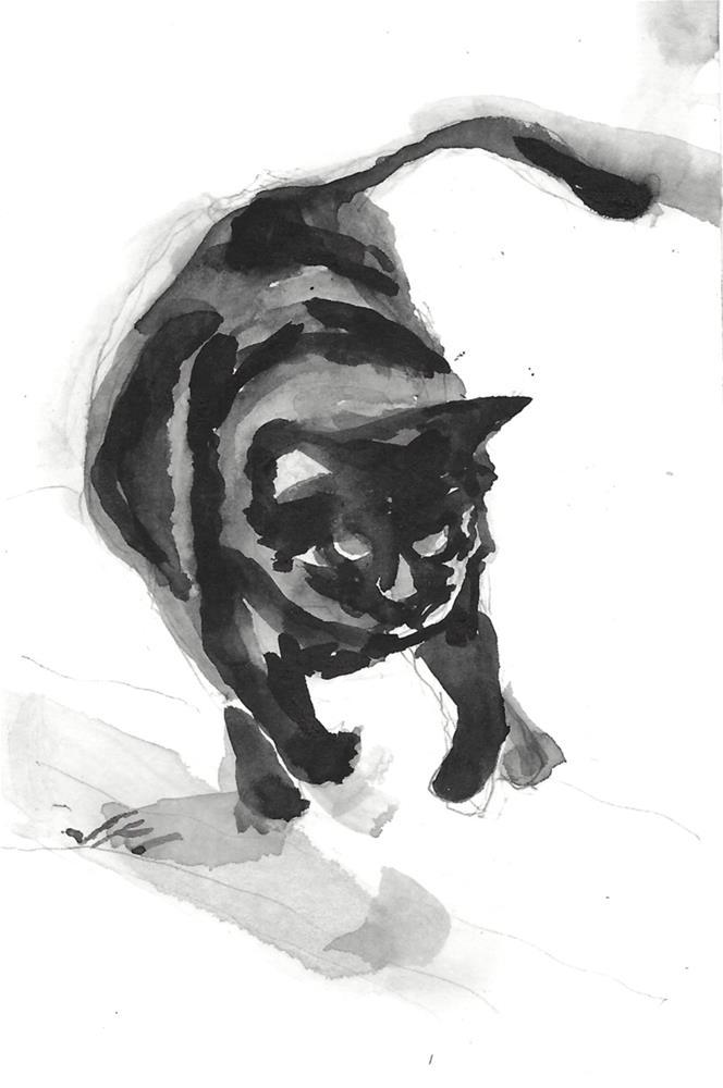 """Daily Cat 205"" original fine art by Jean Krueger"
