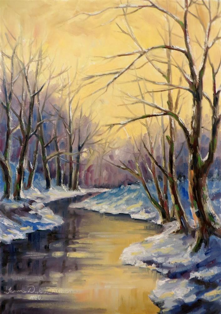 """Golden Winter's Light"" original fine art by Tammie Dickerson"