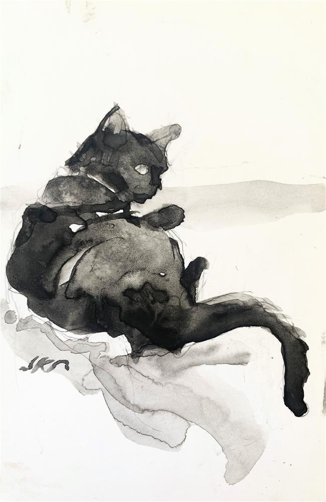 """Daily Cat 211"" original fine art by Jean Krueger"