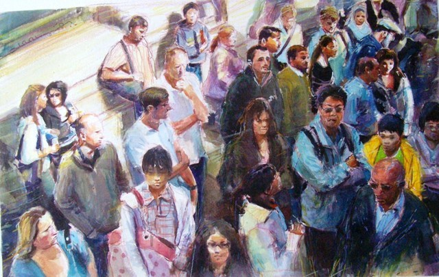 """Human Congestion"" original fine art by Adebanji Alade"