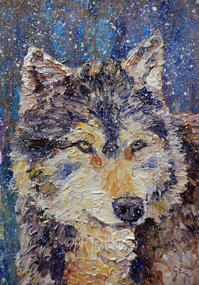 """SALE!!!Wolface"" original fine art by Gloria Ester"