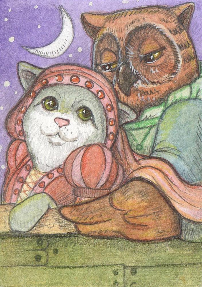 """""""The Owl and the Pussy Cat"""" original fine art by Lisa Ferguson"""