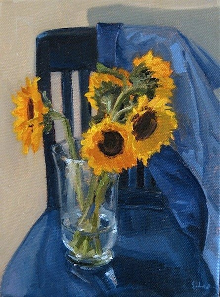 """Sunflowers on a Blue Chair"" original fine art by Sarah Sedwick"