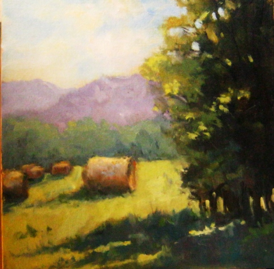 """Summer Haybales, Virginia"" original fine art by Connie Snipes"